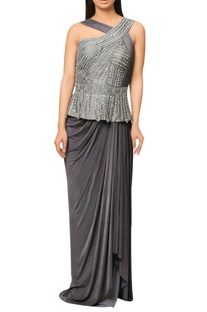 Grey pre-stitched saree with embellished peplum yoke