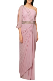 Pink satin draped saree gown with intricate embrodiery