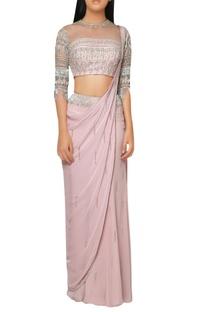 Pink kutdana fringe draped saree