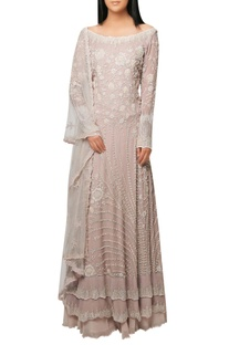 Rudy pink lehenga with embellished layered kurta and dupatta