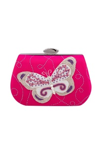 Pink silk hand embroidered bead clutch with detachable chain
