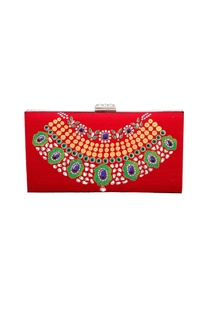 Royal red silk hand-painted mughal era inspired clutch