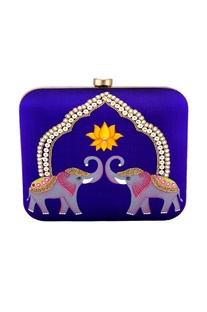 Purple hand painted elephant & pearl clutch