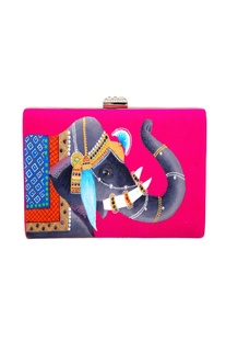 Pink royal elephant raw silk clutch