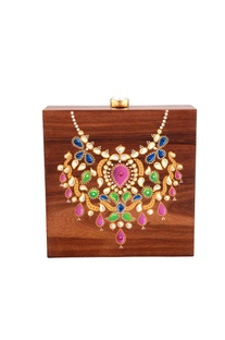 Brown hand painted 'royal necklace' themed  box clutch