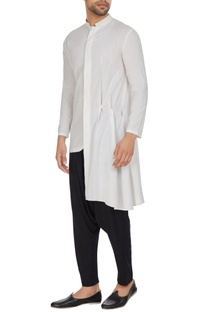 White asymmetric pleated cotton kurta