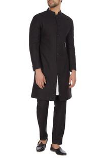 Black cotton sherwani with kurta & pants