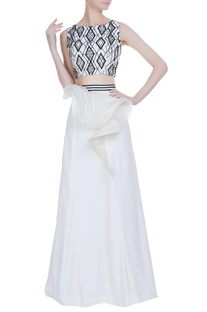 Faux leather applique crop top with ruffle layer lehenga