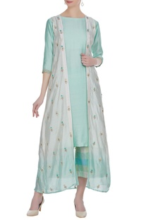 Chanderi kurta with floral embroidered jacket & palazzo.