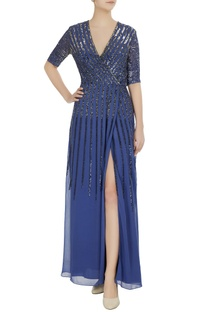 Blue georgette silk embroidered gown