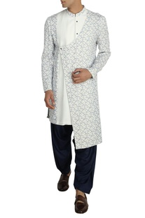 Ivory overlap kurta with navy salwar pants