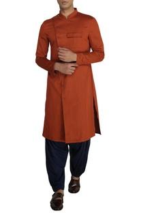 Rust cotton overlap kurta with navy salwar pants