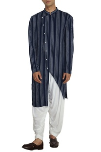 Blue & white stripe asymmetric kurta with white salwar pants