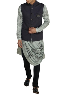 Grey textured nehru jacket