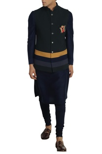 Bottle green poly-wool nehru jacket