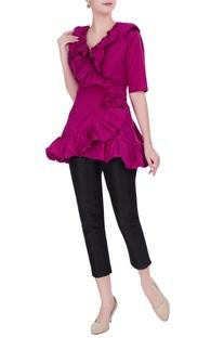 Fuschia taffeta bubble ruffle wrap blouse