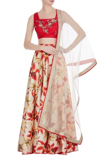 Printed lehenga with embroidered blouse and net dupatta