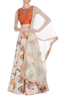 Sequence embroidered blouse with lehenga and dupatta