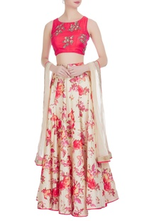 Floral printed lehenga with embroidered blouse and dupatta