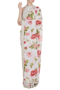 Floral printed sari with embroidered blouse