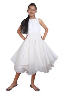 White silk asymmetric hemline dress.