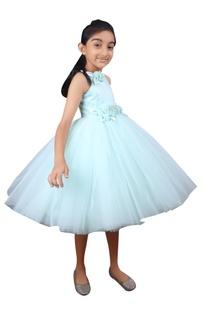 Ocean blue tulle net dress.