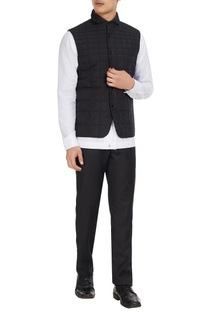 Black quilted nylon waistcoat jacket