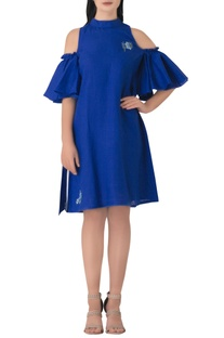 Blue linen embrodiered cold-shoulder tunic dress.