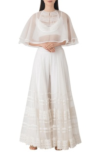 White sheer organza cape with palazzo.