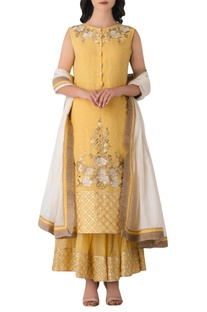 Yellow linen anarkali kurta with embroidered pants & dupatta.