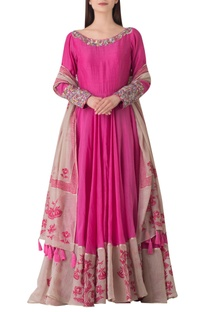 Pink cotton anarkali kurta with hand printed dupatta.