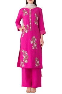 Hot pink linen embroidered kurta set