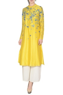 Sunny yellow chanderi dori embroidered kurta with palazzos