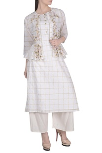 Ecru lurex chanderi embroidered jacket with sleeveless kurta & palazzos