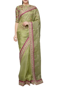 Mehendi green organza silk floral dori embroidered saree with blouse
