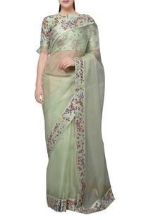 Pastel green organza dori embroidered saree with blouse