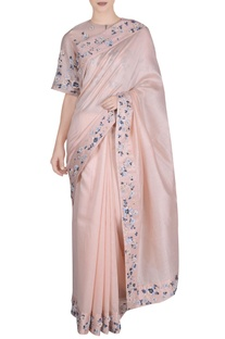 Peach chanderi silk saree with blouse