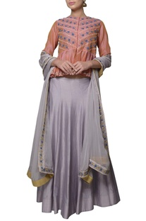 Lobster pink chanderi silk dori embroidered peplum blouse with lehenga