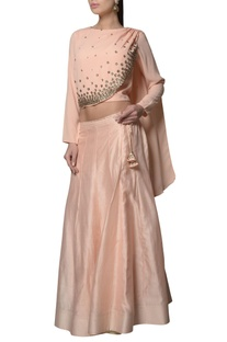 Peach draped blouse with chanderi silk & georgette lehenga