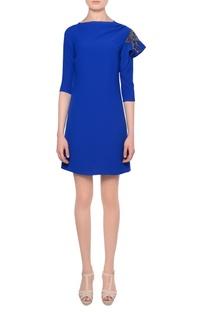 Blue bead embellished mini dress