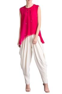 Pink sleeveless mirror work tunic