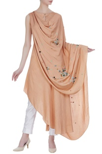 Draped tunic with asymmetric hemline