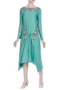 Wrap layered tunic with asymmetric hemline