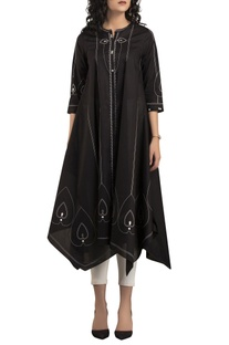Black & ivory screen printed kurta set