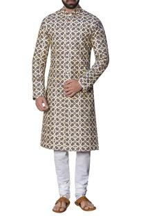 Embroidered sherwani with malmal kurta & churidar