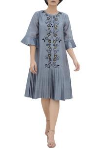 Threadwork frilly midi dress