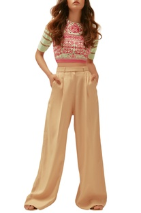 Beige twill embroidered pants