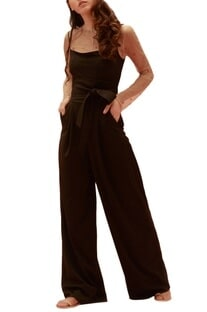 Black scuba & tulle abla work jumpsuit