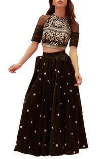 Black cotton satin embroidered long skirt