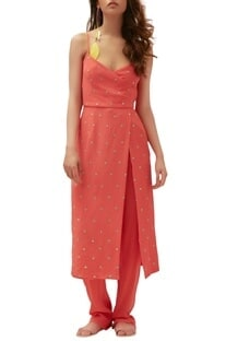 Coral pure crepe abla work dress with trouser